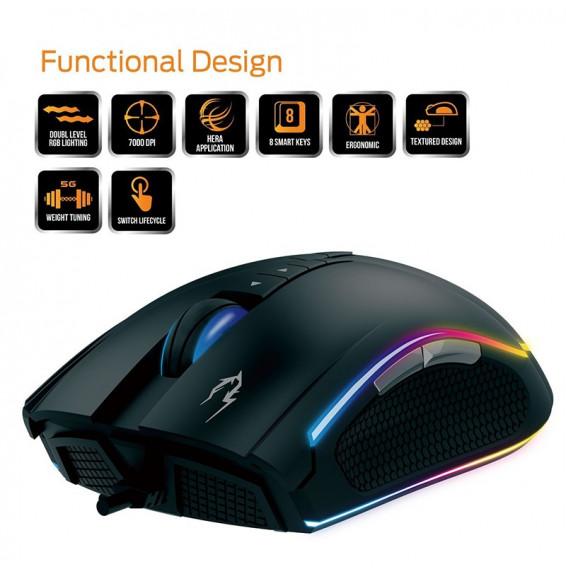 Mouse Gaming Gamdias Zeus M1 RGB 8 Tasti Programmabili 7000dpi - Sistema del controllo Peso