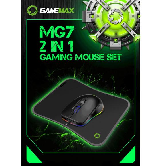 Mouse GameMax MG7 Ottico USB Retroilluminazione RGB Rainbow 7 Tasti Programmabili 3200DPI 4 Livelli + Tappetino Mousepad