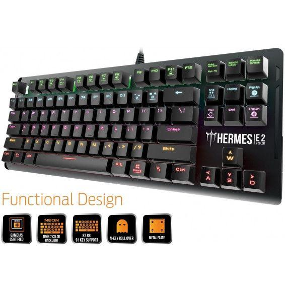 Tastiera Gaming GAMDIAS Hermes E2 Meccanica RGB Led - USB Nero - 87 Keys Anti-ghosting Metal Plate