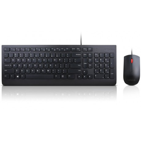 Tastiera e Mouse KIT LENOVO Essential Colore Nero - WIRED KEYBOARD AND MOUSE COMBO ITA