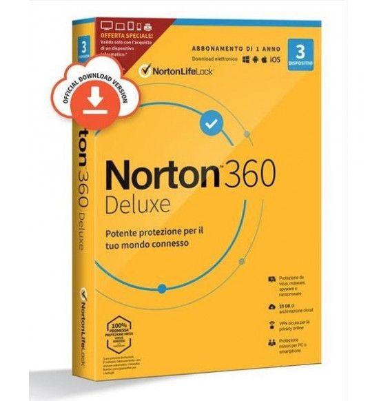 PC/MAC  NORTON 360 Deluxe BOX - Software Antivirus - Versione Italiana